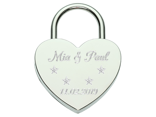 Love lock with Swarovski®-Stars